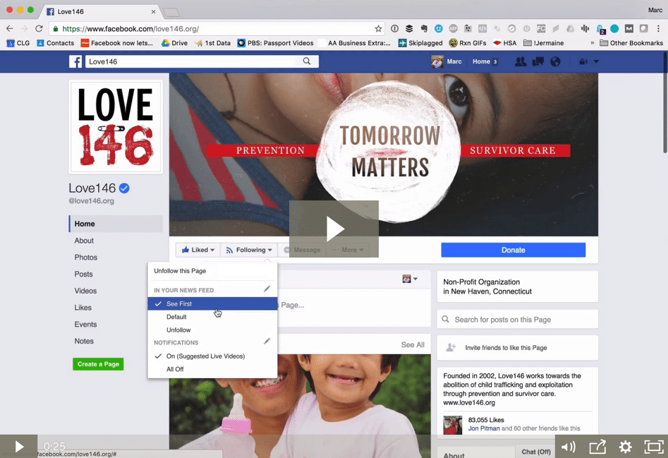 How to never miss a nonprofit's Facebook update