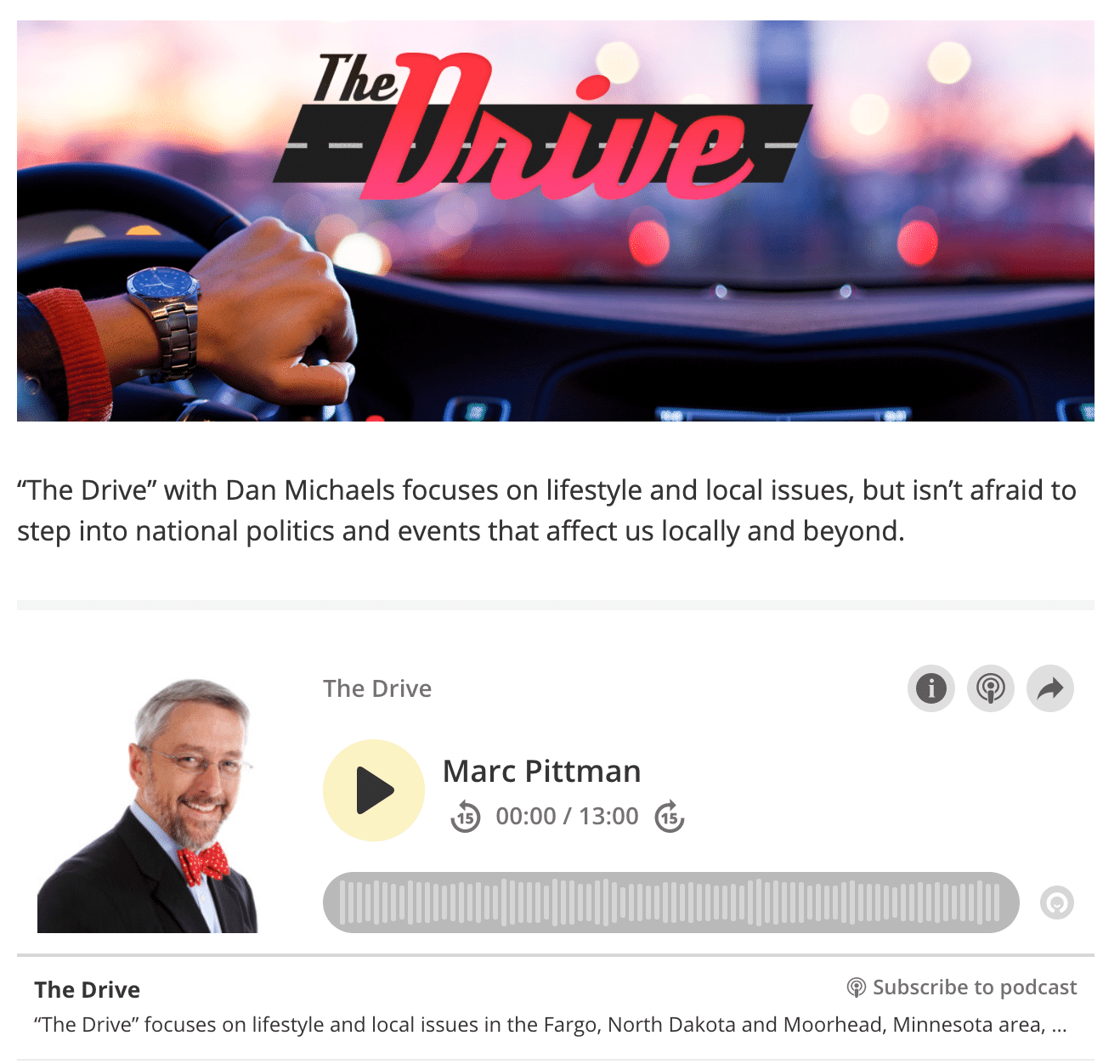 Marc A. Pitman on KFGO's The Drive